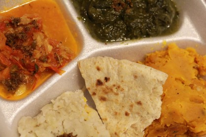The veggie combo at Leela's Roti & Doubles