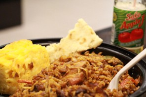 Chicken Pelau, Macaroni Pie and Sada roti
