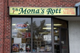 "In an industrial business lot in Scarborough, there's a piece of San Fernando behind the doors of Mona's Roti. Step inside and all you hear is noise — The sound of heaters, stoves, boiling oil, and people shouting, ""I need six dhalpuri and a bag of pholourie."" Nostalgia-inducing smells of aromatic curry, tamarind, pepper and turmeric fill the air. There are a couple of tables to sit and consume a roti, but they're rarely ever used. Mona's is the epitome of a Caribbean takeway. When co-owner Mona Khan and her husband, Cyrus, moved to Canada in the late 80s, she began producing hundreds of roti skins in the kitchen of her Markham home. At the time, she was feeling ""homesick"" after moving back and forth from the outskirts of San Fernando, Trinidad, where Mona's began. ""While we were in Trinidad, it was tough to live,"" says Cyrus Khan, who helped Mona open their Marabella shop in 1983. ""People from all over the island would come to us for a well-made dhalpuri."" Purchasing their current space in 2003, Mona's quickly became the place in Scarborough for made-to-order roti. Today, classic curry chicken in a dhalpuri shell is what people crave the most. Yet, Mona's is famous for their baseball-sized pholourie, perfectly spiced and fried, or specials like their jerk chicken and rich, curry beef. The kingfish steaks and salt cod are also tops, paired with some pumpkin, spinach or baigan choka – a traditional roasted eggplant dish. All of this cooking commences at seven o'clock in the morning, and with many hours spent in the kitchen, and around Mona, Cyrus can attest to the passion his wife puts into the food. ""She is happy when people enjoy the food and come back with good, positive comments. She doesn't look at the cost, or anything like that,"" he says. ""That well-made Creole taste you have in the Caribbean, people long for that and they love it, you know? Many people come in for a taste that they can't get anywhere else in the city."""